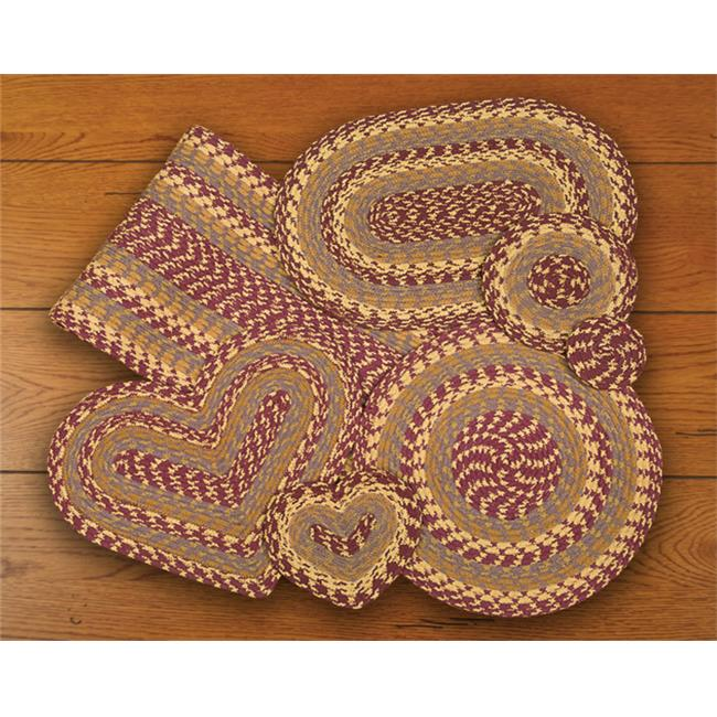 Earth Rugs 60-341 Burgundy-Gray-Mustard Heart Placemat