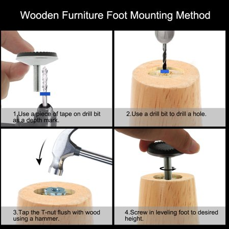M10 x 30 x 50mm Furniture Glide Leveling Feet Leg Floor Protector w T-nuts 8pcs - image 3 of 8