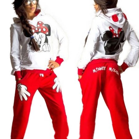 (Womens 2Pcs Hoodie Tracksuit Mickey Mouse Sweatshirt Sweater Sports Jogging Pants Suit)