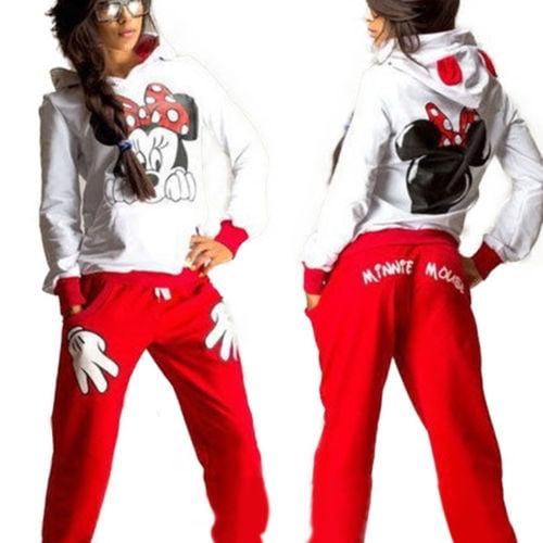 Womens 2Pcs Hoodie Tracksuit Mickey Mouse Sweatshirt Sweater Sports Jogging Pants Suit