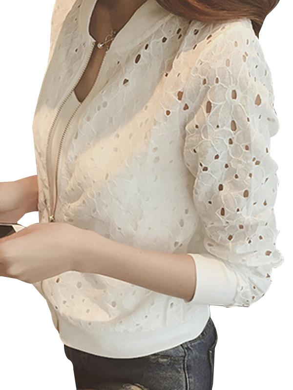OUMY Women Long Sleeve Zipper Hollow Lace Jacket Outwear Coat