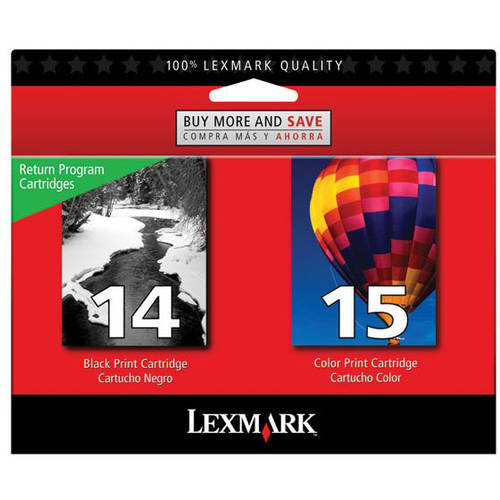 Lexmark Twin-Pack #14, #15 Black and Color Return Program Print Cartridges
