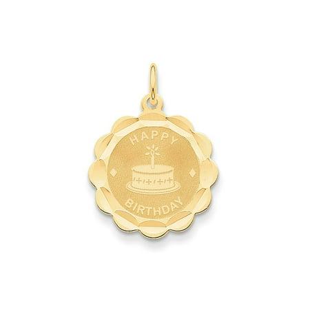 14k Yellow Gold Happy Birthday Charm - 1.0 Grams - Measures 26.4x19.5mm