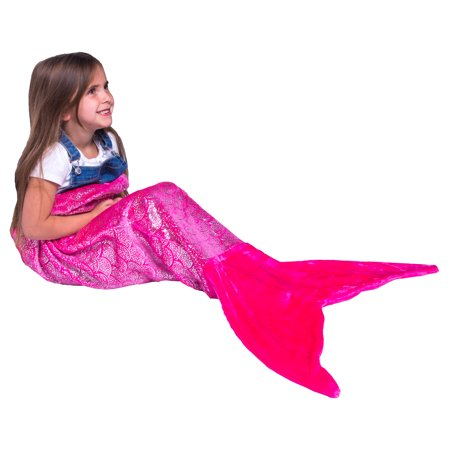PixieCrush Mermaid Tail Blanket For Teenagers/Adults & Kids Thick, Plush Super Comfy Fleece Snuggle Blanket With Double Stitching, Keep Feet Warm (Small, Shiny Pink)