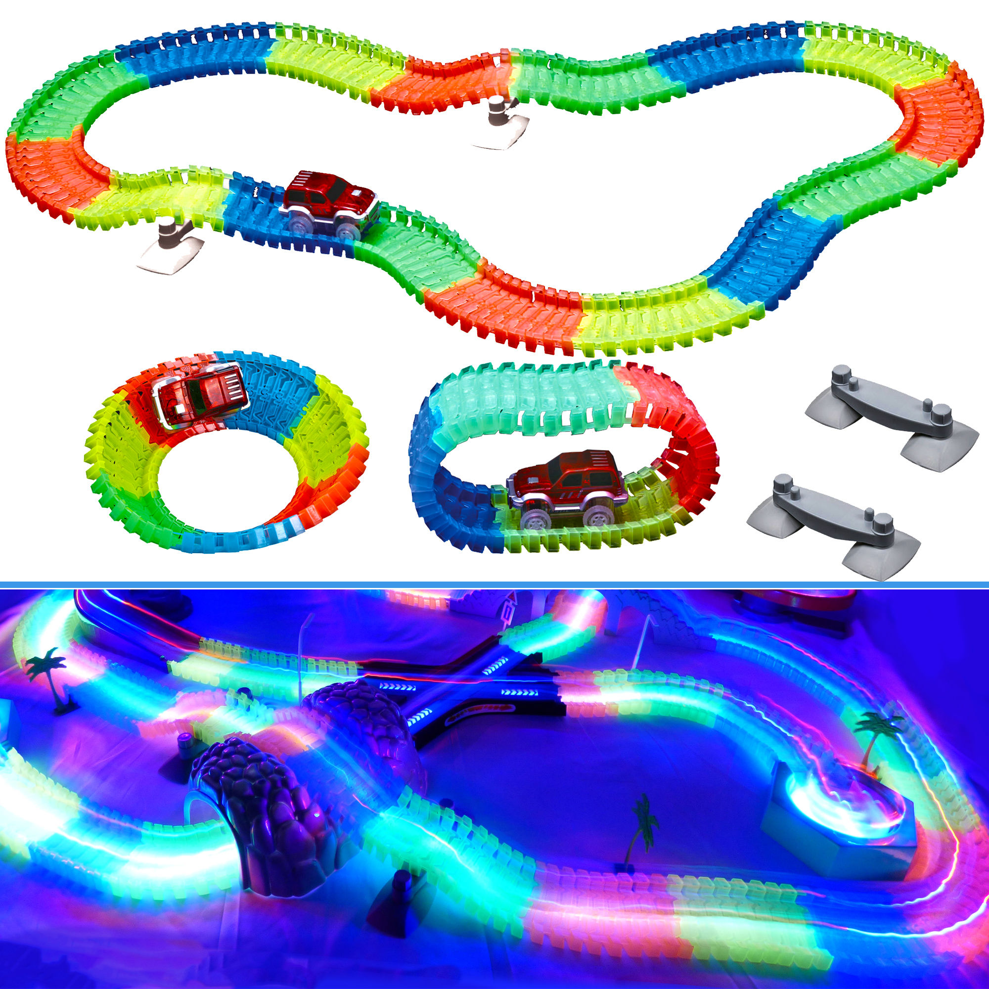 Light Up Twisting Glow In The Dark Race Tracks - Magic Twister Race Track Toy Cars - Endless Glowing Track Possibilities