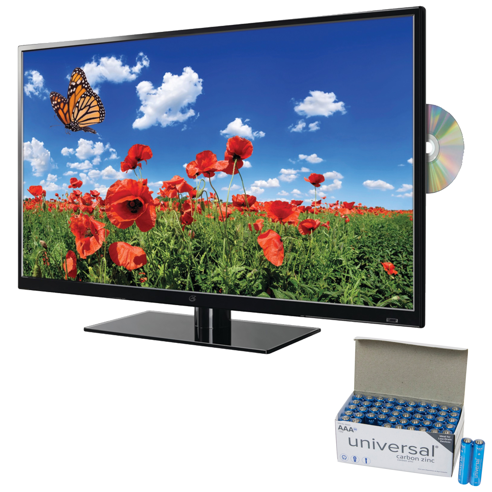 "GPX TDE3274BP 32"" 1080p LED TV/DVD Combination & UPG AAA 50 PK"