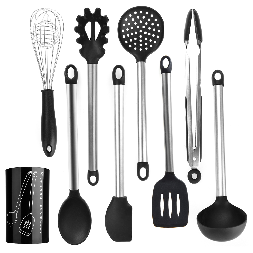 Uarter Non-stick Kitchen Utensil Set Silicone and Stainless Steel Utensils Serving Tongs Scraper Whisk Spoon Ladle Strainer Spatula Pasta Server with Storage Bucket, Set of 9