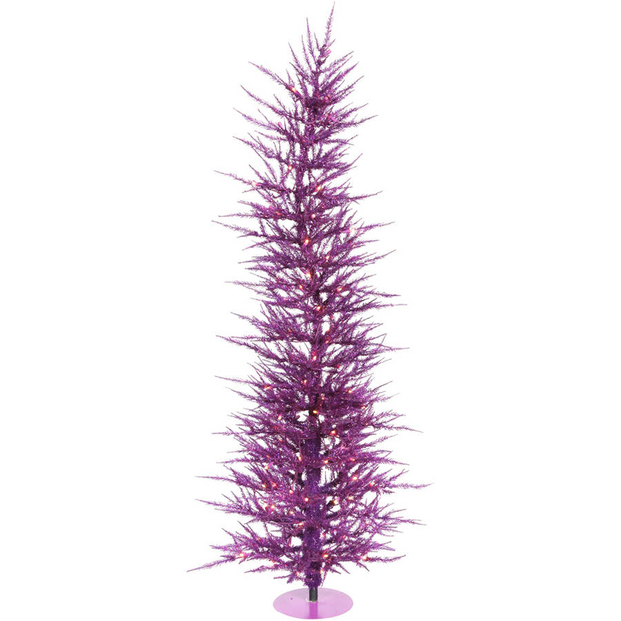 Vickerman Pre-Lit 3' Purple Laser Artificial Christmas Tree, Purple Lights