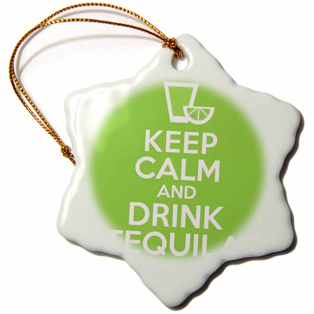 3dRose Keep calm and drink tequila., Snowflake Ornament, Porcelain, 3-inch - Halloween Tequila Drinks