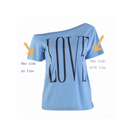 VICOODA Womens Plus Size Off Shoulder Pullover Sweatshirt Love Letter Printed Tops Shirts