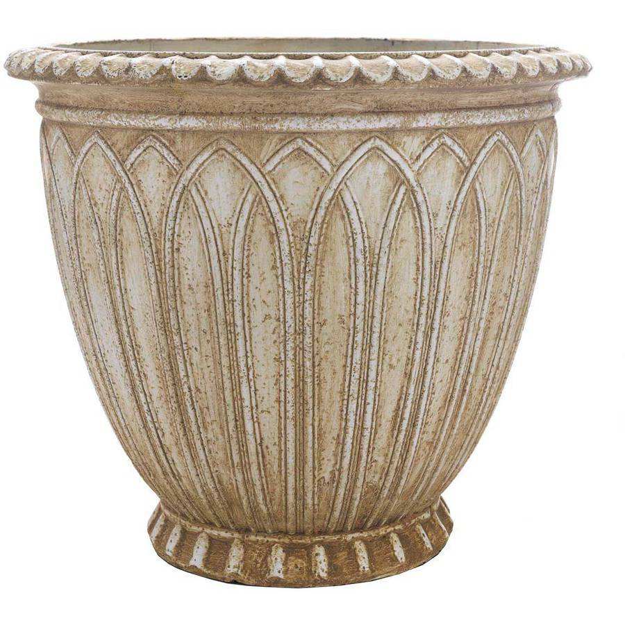 """Better Homes and Gardens 17.5"""" x 21"""" Clearwater Planter, Natural/White"""