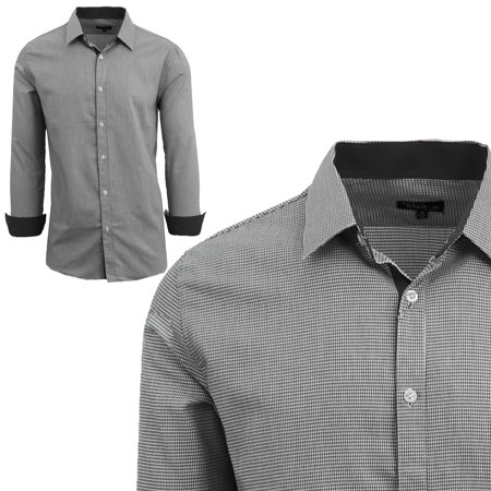 Men's Long Sleeve Houndstooth Slim Fit Shirts ()