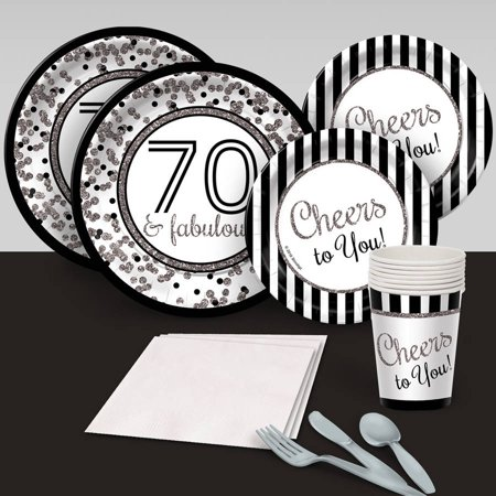 Cheers to You 70's Silver Party Pack for - 70's Theme Party Clothes