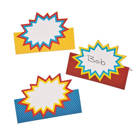 Superhero Place Cards 2PK - Superhero Centerpieces