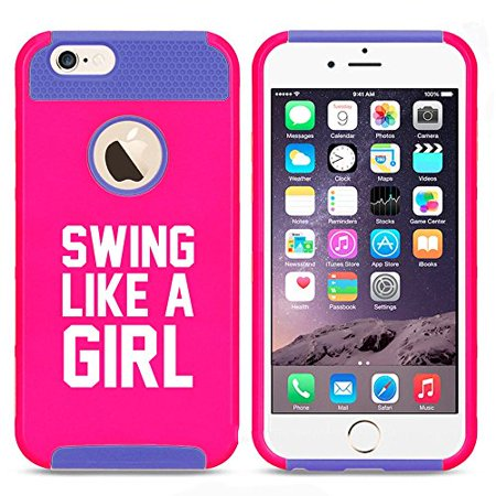 Apple iPhone 6 Plus / 6s Plus Shockproof Impact Hard Case Cover Swing Like A Girl Golf Softball Kettlebell (Hot Pink-Blue),MIP