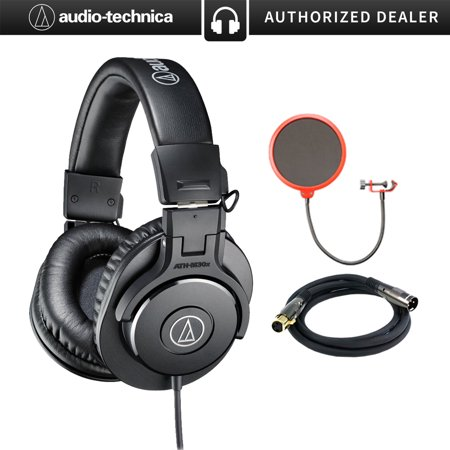 Audio Filter - Audio-Technica ATH-M30x Professional Headphones Bundle Includes, Pop Filter Microphone Wind Screen & XLR Male to XLR Female 16AWG Cable, Gold Plated, 10'