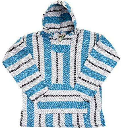 Baja Joe Striped Woven Eco-Friendly Jacket Coat Hoodie (Aqua, Small)