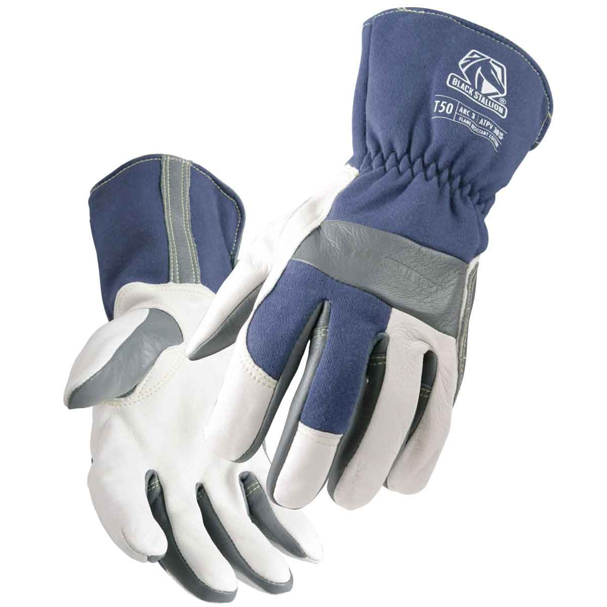 Black Stallion TIGster T50 Premium Grain Goatskin & FR Cotton TIG Welding Glove, Large