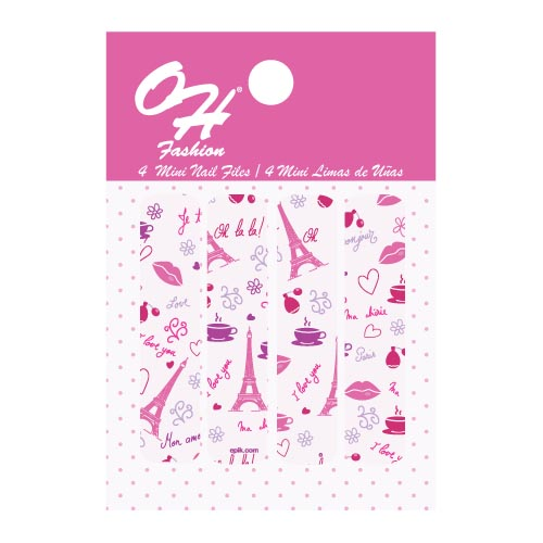 OH FASHION Mini Nail Files Set Pink Paris (1 pack) beauty , nail filer , nail file ,manicure set, pedicure set , nail care