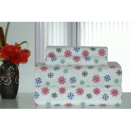 - Pointehaven Heavy Weight Snow Flakes Printed Flannel Sheet Set