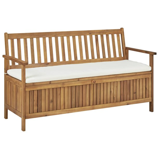 Wooden Outdoor Storage Bench, Wood Bench With Storage And Cushion