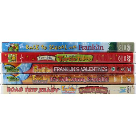 Franklin 5 NEW DVDs Set: Back to School, Favorite Turtle Tales, Franklin's Valentines, It's Halloween Frankling!, Road Trip Ready: Pirate Island - Dragon City Halloween Island