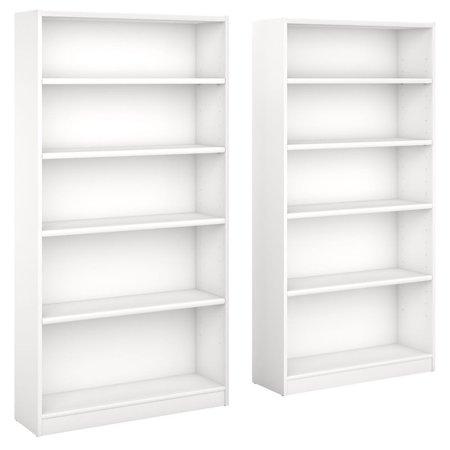 Bush Universal 5 Shelf Bookcase in Pure White (Set of 2)