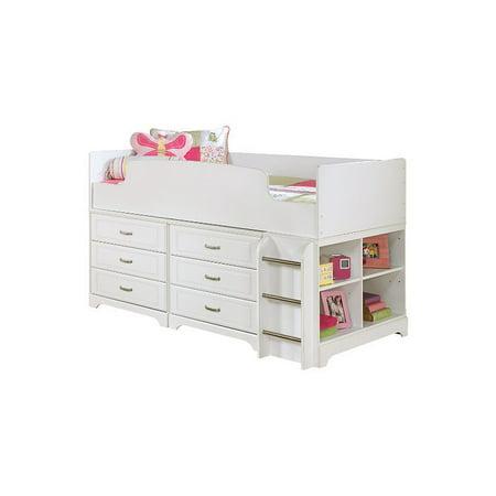 Ashley Lulu Wood Twin Cubby Drawer Storage Loft Bed In White Walmart Com