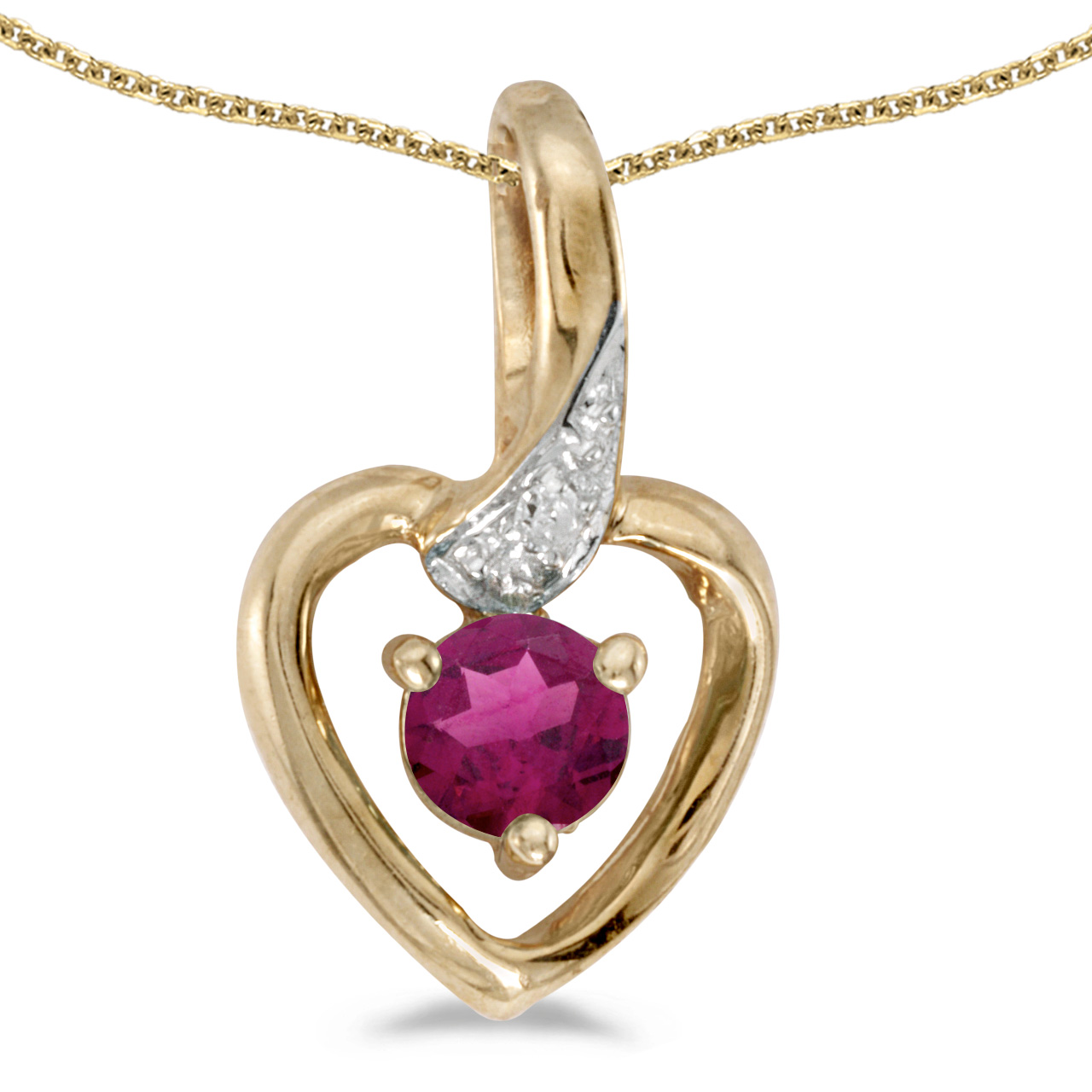 "10k Yellow Gold Round Rhodolite Garnet And Diamond Heart Pendant with 16"" Chain"