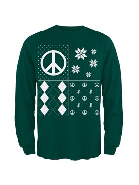10a25750 Product Image Peace Sign Festive Blocks Ugly Christmas Sweater Dark Green  Adult Long Sleeve T-Shirt