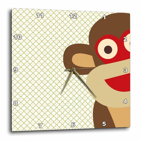 3dRose Sock Monkey Peeking Around Corner - Cute Animal Art - Wall Clock, 10 by 10-inch