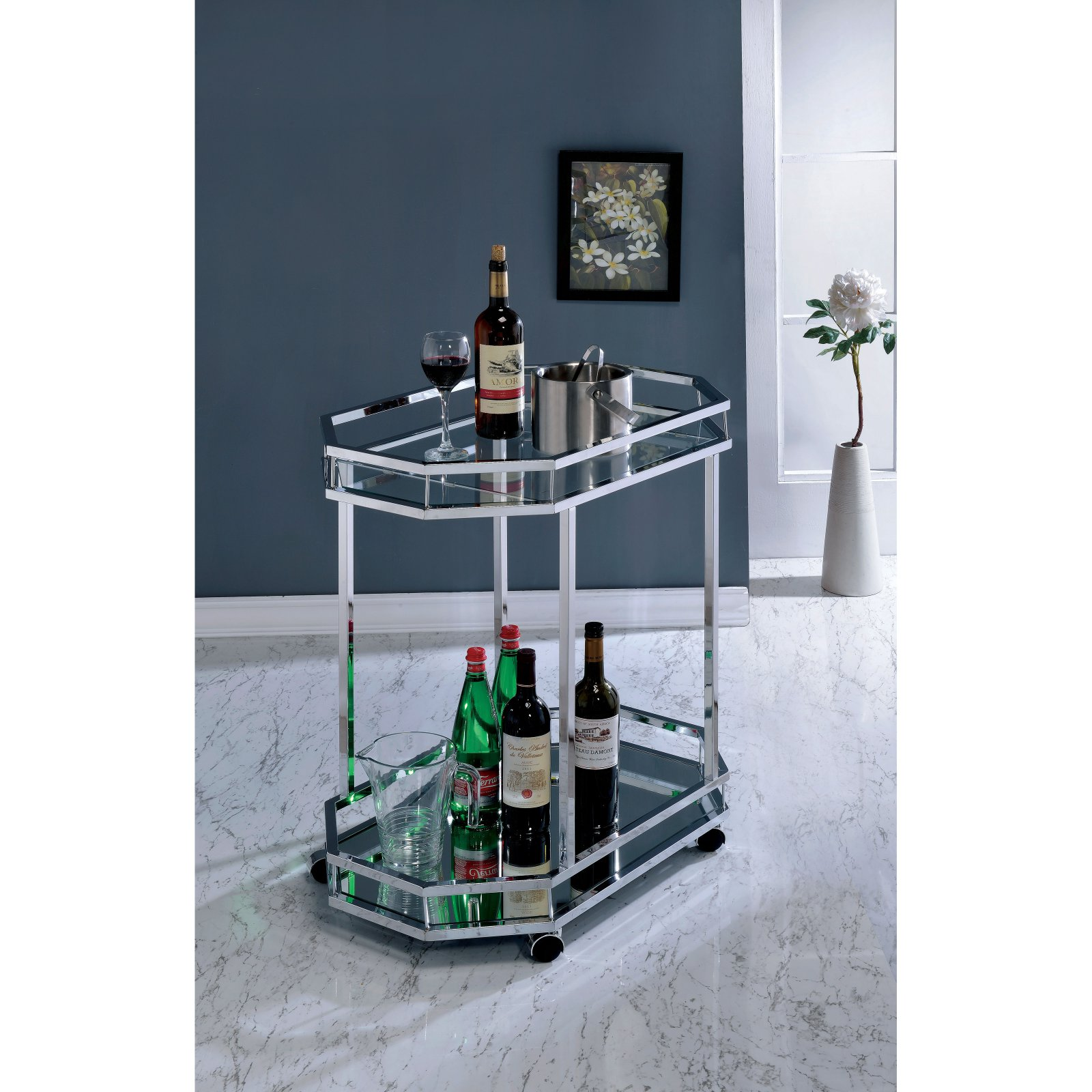 Furniture of America Norah Contemporary Style Rolling Serving Cart