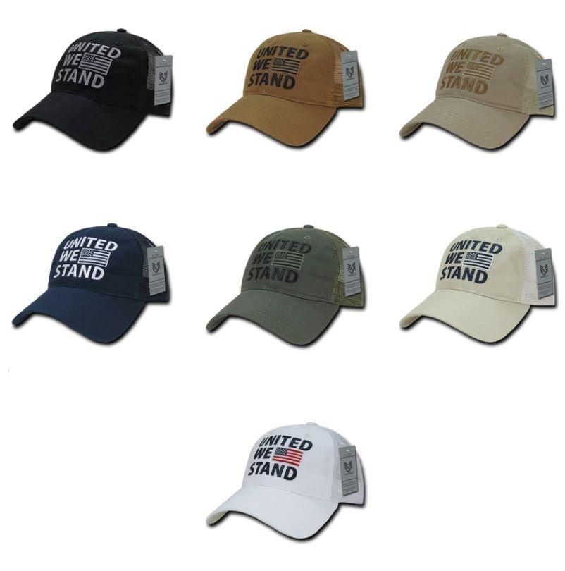 United We Stand American Flag USA US Military Polo Trucker Baseball Ball Hat Cap-Olive Green