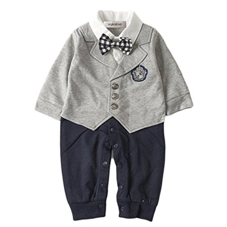 StylesILove Baby Boy Handsome 4-in-1 Tuxedo Onesie Suit (18-24 months/90, Grey) - Ring Bearer Gray Suit