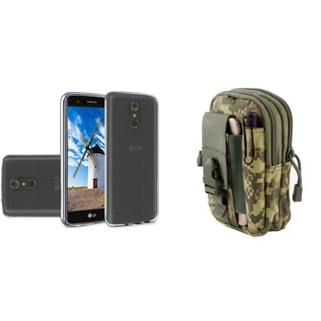 Slim TPU Silicone Soft Crystal Skin Protective Cover Case (Smoke Gray) with ACU Camo Tactical EDC MOLLE Utility Waist Pack Holder Pouch, Atom Cloth for LG Stylo 4+ Plus/LG Stylo 4