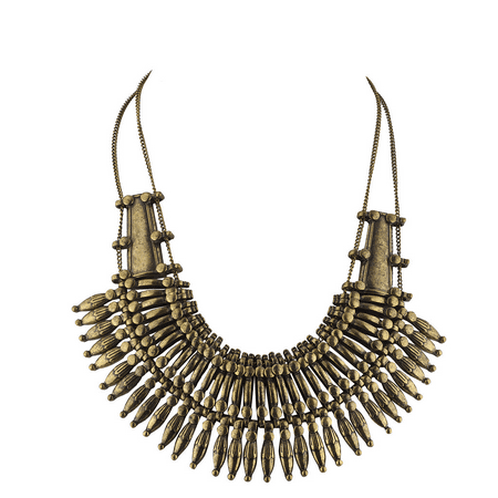 - Lux Accessories Boho burnished Gold Casted Metal Amor Spike Statement Necklace