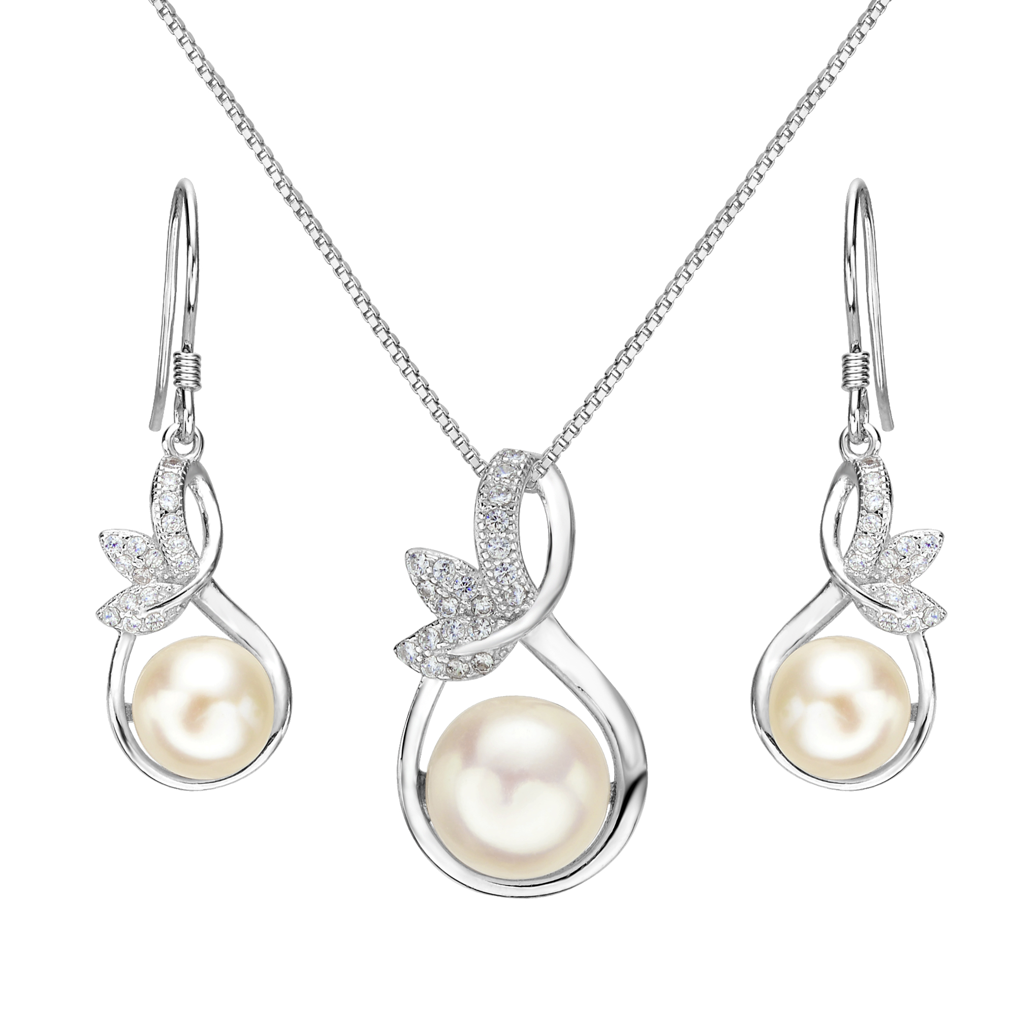 AIMO 925 Sterling Silver CZ Cream Freshwater Cultured Pearl Leaf Bridal Necklace Hook Earrings Set Clear