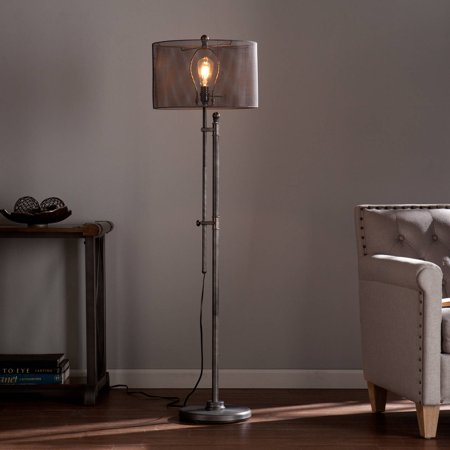 Southern Enterprises Hoove All Metal Edison Style Floor Lamp, Brushed (Uttermost Rustic Floor Lamp)