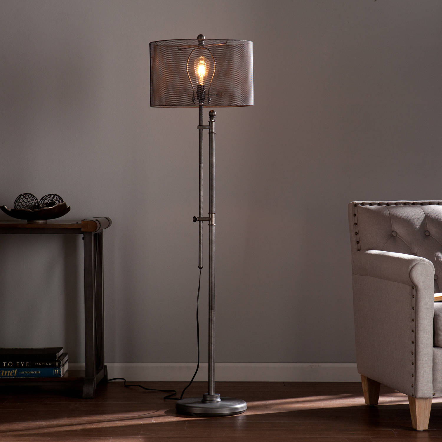 Southern Enterprises Hoove All Metal Edison Style Floor Lamp, Brushed gunmetal