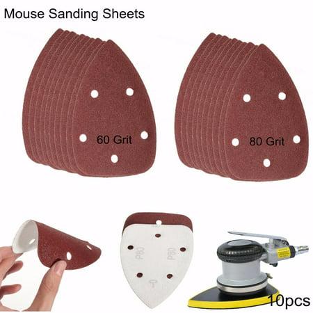 10Pcs 60/80 Grit Mouse Sanding Disc Sheets Sandpaper For Black & Decker Palm Sander