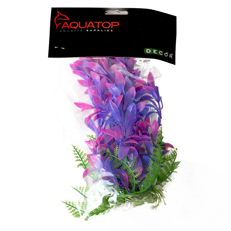 Aquatop Hygro Aquarium Plant - Pink & Purple 6 High w/ Weighted Base - Pack of 2