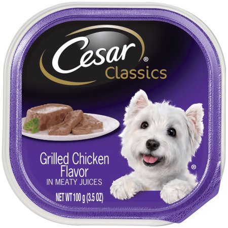 (24 Pack) CESAR CANINE CUISINE Wet Dog Food Grilled Chicken Flavor, 3.5 oz. Tray