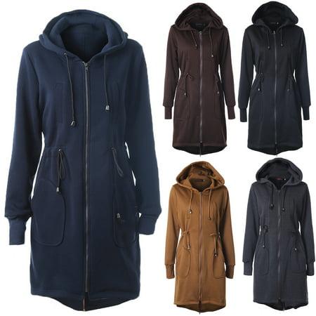 NEW Womens Medium Length Drawstring Coat Zipper Pocket Casual Warm Overcoat Plus Size