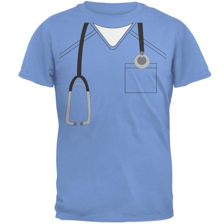 Adult Carolina Blue T-shirt - Halloween Doctor Scrubs Costume Carolina Blue Adult T-Shirt