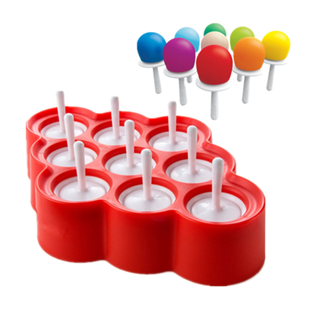 Mini Pop Molds, 9 Miniature Popsicle Molds With Sticks And Drip Guards, Easy Release Bpa Free Silicone (Red) by Salmopeus