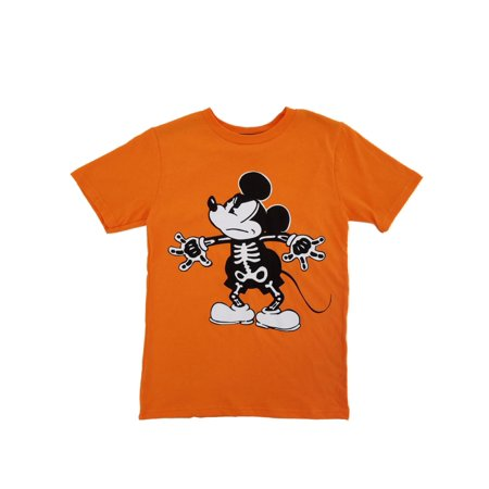 Disney Mickey Mouse Boys Orange Halloween Skeleton T-Shirt - Disney Boo Halloween Shirt