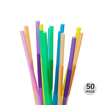 7 Color MIX Plastic Drinking Flexible Straws 50Pcs LIVINGbasics™ - image 3 de 3