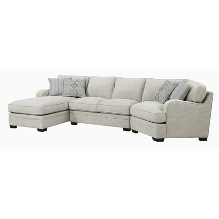 Emerald Home Analiese Ivory Tan Chofa Sectional, with Pillows, Track Arms, Welt Seaming, And Block - Ivory Sectional