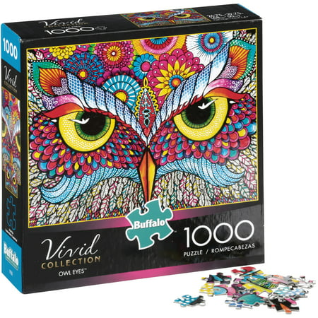 Buffalo Games Vivid Collection Owl Eyes 1,000 Piece Jigsaw Puzzle - Halloween Games Puzzles Printable