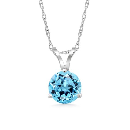 1.20 Ct Round Swiss Blue Topaz 14K White Gold Pendant With Chain Blue Topaz Round Necklace